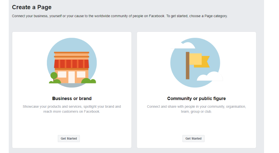 Chose your facebook business page type