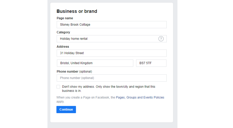 Fill in your business details for facebook
