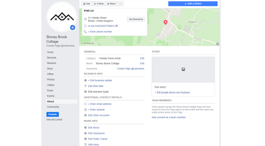 Edit the settings of your Facebook business page