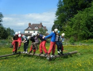 Working as a team on Trewern's Assault Course