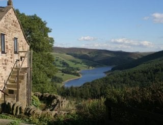 View from the courtyard towards Ladybower
