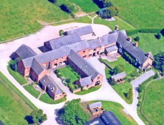 Ariel view of the farm buildings