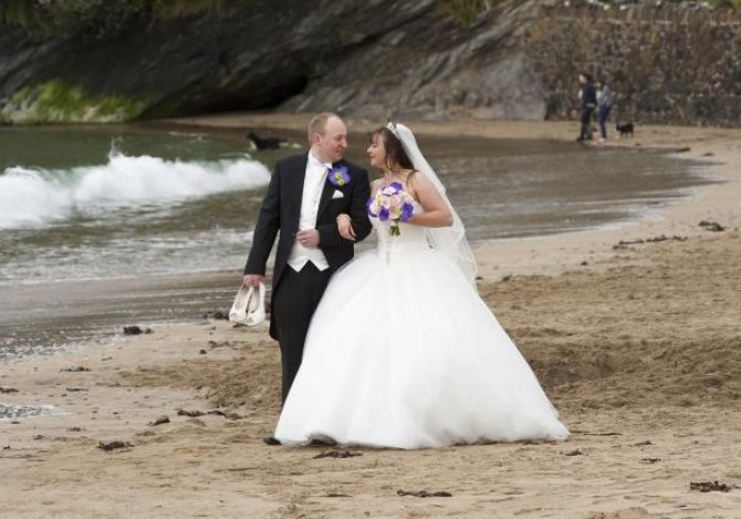 Porthluney Beach  after the ceremony