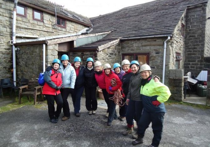 Ready for abseiling at Parson House opc