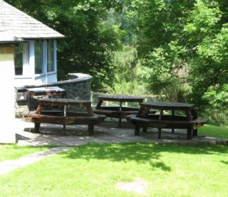 The outside seating area at Hawse End Cottage