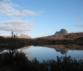 Canisp and Suilven from the lodge's private drive