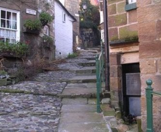 Typical cobbled street in Robin Hoods Bay