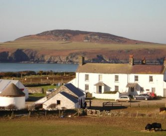 Farmyard with Ramsey Island beyond