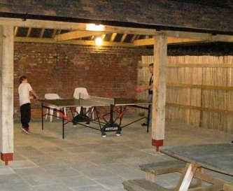Patio and games area at night
