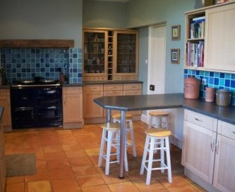 Kitchen with Aga and electric cooker