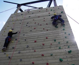 On site climbing and zip wire tower.