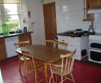 large kitchen with Aga and essential appliances