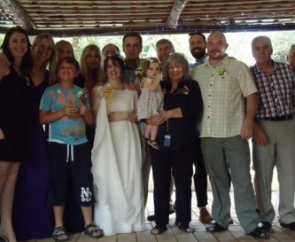 The wedding party under the Pergola