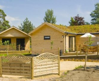 Eco built lodges, with green roof