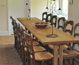 The formal dining room at Honeymead Farmhouse