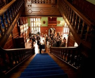 The blue grand staircase leading to the Great Hall