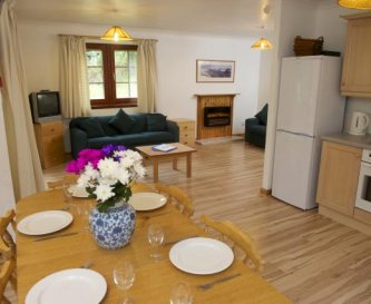 Typical lodge lounge/dining/kitchen area