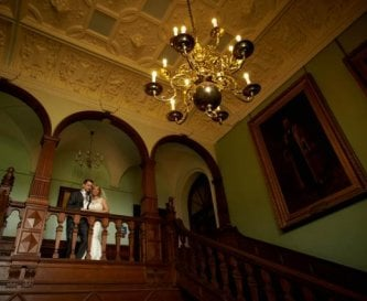 Top of the grand blue staircase in the Great Hall