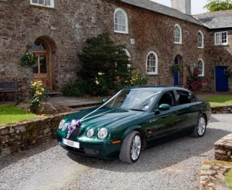 Wedding car at Eggesford Barton House
