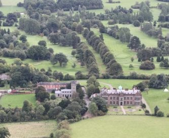 Aerial view of the North Front and Ingestre Church