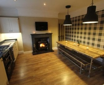 Our social kitchen with wood burning stove.