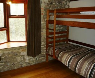 Bunk style accommodation with shared bathrooms