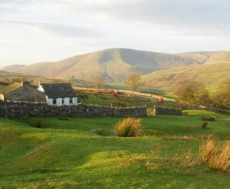 Scenic view overlooking the Fells (Howgills to R)