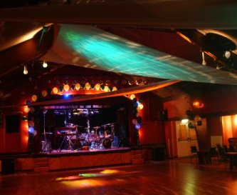 Ballroom with band on stage