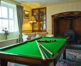 The slate bed snooker table in the dinning room