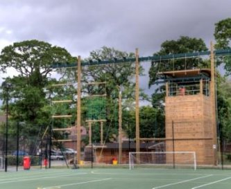 One of the sports pitches and high ropes