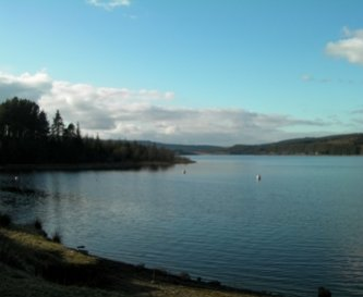 We are on the edge of beautiful Lake Kielder.