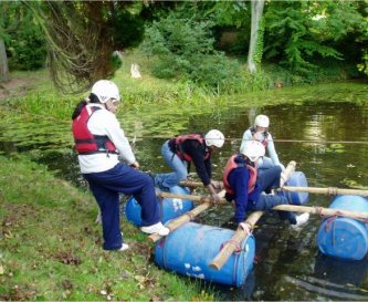 Lake on site for raft building,