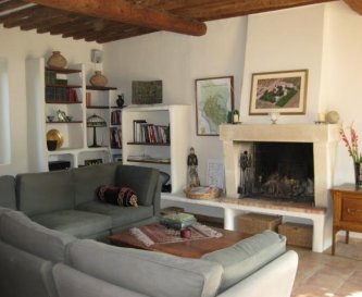 Farmhouse salon with fireplace, TV and DVD