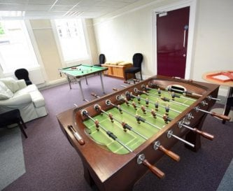 Games room with pool table and table fuzzball