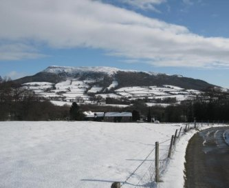 Winter view of the Skirrid  from the Farm Drive