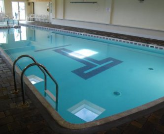 The shared indoor heated swimming pool