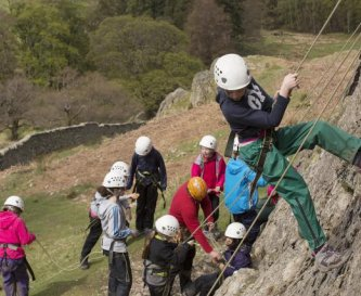 Rock climbing on the crag above the centre