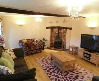 Sitting room with big tv and wood burner gas stove
