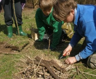 Making a fire - part of an eco-challenge day