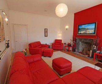 Red Lounge with french doors to terrace