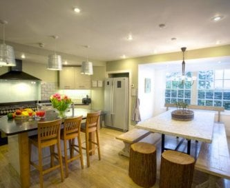 The designer kitchen with central island unit.