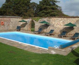 Heated pool at Widcombe Grange