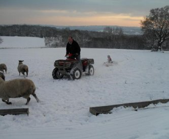 Sledging by Quad in the Snow!