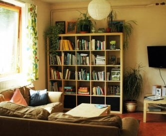 Living area with 'Special Interest' bookshelf
