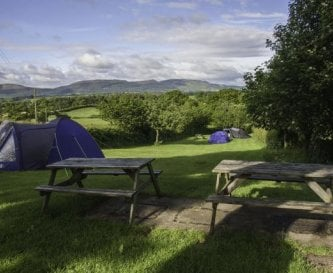 Picnic tables in camping area showing the view