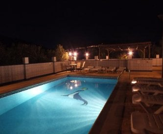 Beautiful heated pool at night