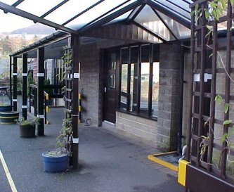 Covered walkway to classroom