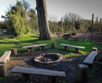Secluded campfire area & low ropes course,