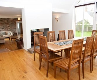 Dining/Living area with double sided log burner