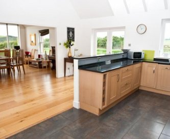 Spacious dining kitchen with seating for 14